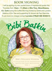 Bibi's Wellness Wisdom Book Signing, Thursday 5th December, 10am – 11.30am Elm Tree, Glounthuane, Co. Cork